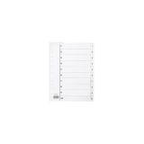 Plastregister A4 1-10 vit, 5 st