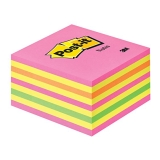 Post-it Kub 76x76 mm rosa/gul